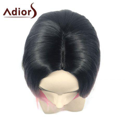 Trendy Adiors Middle Part Ombre Straight Short Bob Synthetic Wig - BLACK AND RED  Mobile