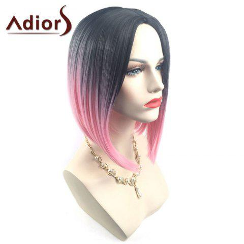 Outfits Adiors Middle Part Ombre Straight Short Bob Synthetic Wig - BLACK AND RED  Mobile