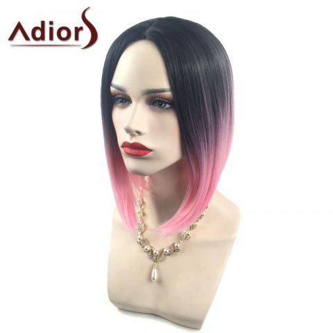 Discount Adiors Middle Part Ombre Straight Short Bob Synthetic Wig - BLACK AND RED  Mobile