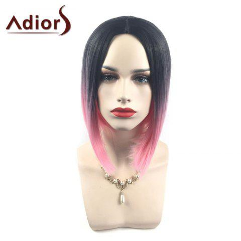 Online Adiors Middle Part Ombre Straight Short Bob Synthetic Wig - BLACK AND RED  Mobile