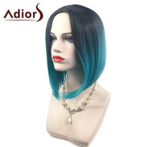 New Adiors Middle Part Ombre Straight Short Bob Synthetic Wig - BLACK AND GREEN  Mobile