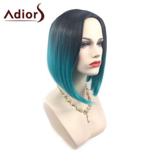 Outfits Adiors Middle Part Ombre Straight Short Bob Synthetic Wig - BLACK AND GREEN  Mobile