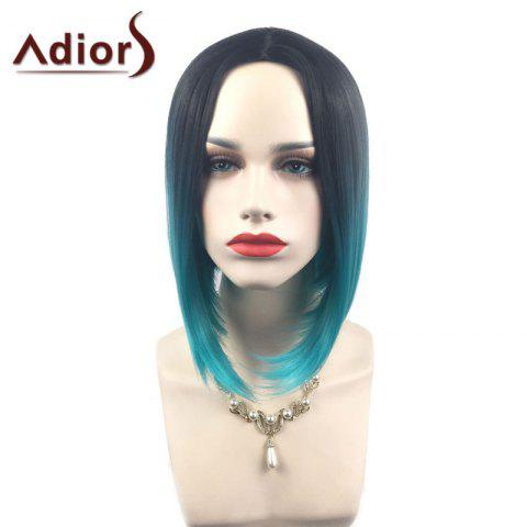 Discount Adiors Middle Part Ombre Straight Short Bob Synthetic Wig - BLACK AND GREEN  Mobile