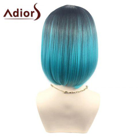 Trendy Adiors Middle Part Ombre Straight Short Bob Synthetic Wig - BLACK AND GREEN  Mobile