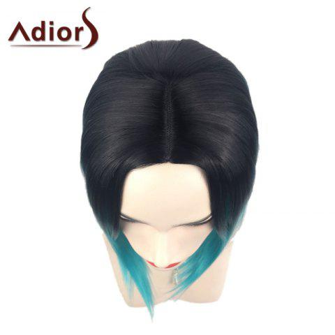 Shop Adiors Middle Part Ombre Straight Short Bob Synthetic Wig - BLACK AND GREEN  Mobile