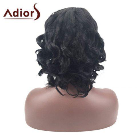 Shop Adiors Short Oblique Bang Layered Shaggy Curly Synthetic Wig - BLACK  Mobile
