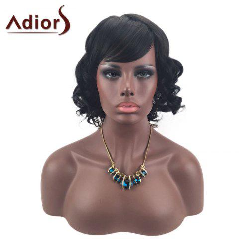Outfits Adiors Short Oblique Bang Layered Shaggy Curly Synthetic Wig - BLACK  Mobile