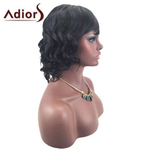 Trendy Adiors Short Oblique Bang Layered Shaggy Curly Synthetic Wig - BLACK  Mobile