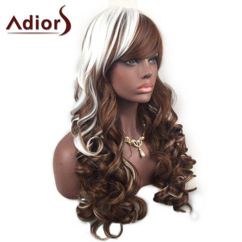 Trendy Adiors Inclined Bang Highlight Layered Shaggy Long Curly Synthetic Wig - WHITE AND BROWN  Mobile