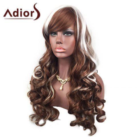 New Adiors Inclined Bang Highlight Layered Shaggy Long Curly Synthetic Wig - WHITE AND BROWN  Mobile