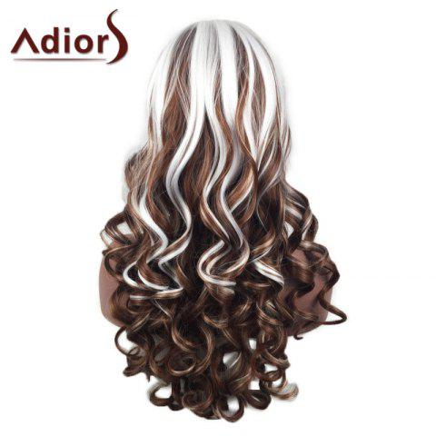 Shop Adiors Inclined Bang Highlight Layered Shaggy Long Curly Synthetic Wig - WHITE AND BROWN  Mobile