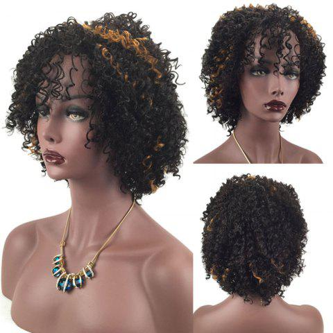 New Adiors Side Bang Shaggy Short Afro Curly Highlight Synthetic Wig - BLACK AND BROWN  Mobile