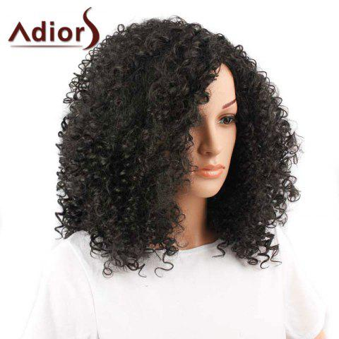 Outfit Adiors Inclined Bang Medium Shaggy Afro Curly Synthetic Wig - BLACK  Mobile