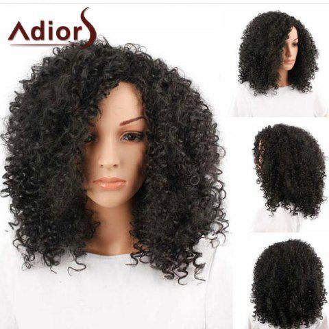 Trendy Adiors Inclined Bang Medium Shaggy Afro Curly Synthetic Wig - BLACK  Mobile