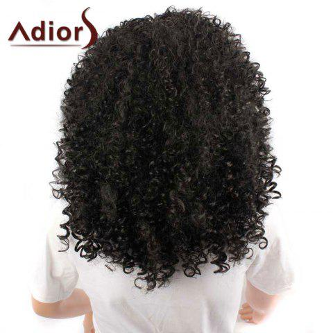 Latest Adiors Inclined Bang Medium Shaggy Afro Curly Synthetic Wig - BLACK  Mobile