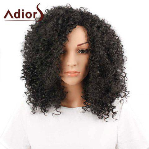 Shop Adiors Inclined Bang Medium Shaggy Afro Curly Synthetic Wig - BLACK  Mobile