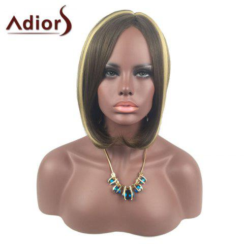 Latest Adiors Medium Center Parting Straight Highlight Bob synthetic Wig - COLORMIX  Mobile