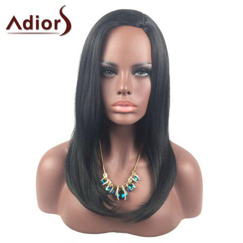 Online Adiors Long Side Part Glossy Straight Tail Adduction Synthetic Wig - BLACK  Mobile