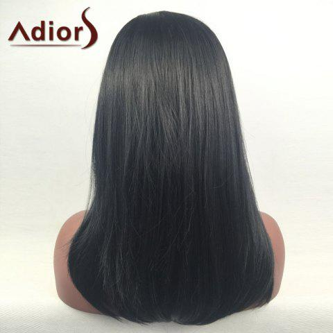 New Adiors Long Side Part Glossy Straight Tail Adduction Synthetic Wig - BLACK  Mobile