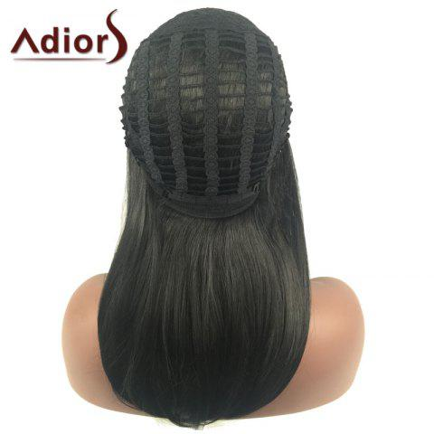 Fashion Adiors Long Side Part Glossy Straight Tail Adduction Synthetic Wig - BLACK  Mobile