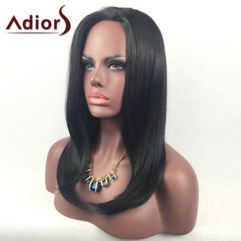 Latest Adiors Long Side Part Glossy Straight Tail Adduction Synthetic Wig - BLACK  Mobile