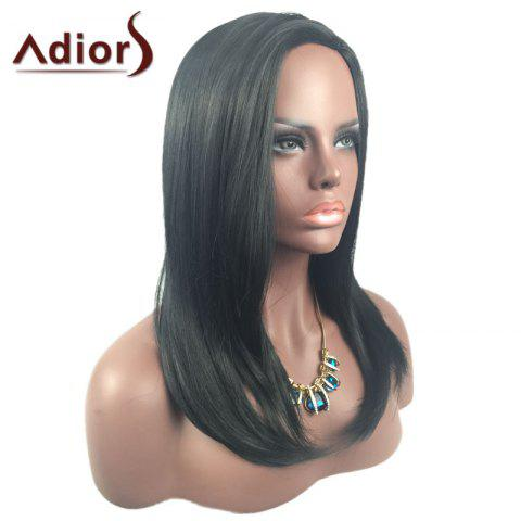 Outfits Adiors Long Side Part Glossy Straight Tail Adduction Synthetic Wig - BLACK  Mobile