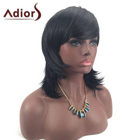 Outfits Adiors Medium Layered Tail Upwards Side Bang Glossy Straight Synthetic Wig - BLACK  Mobile
