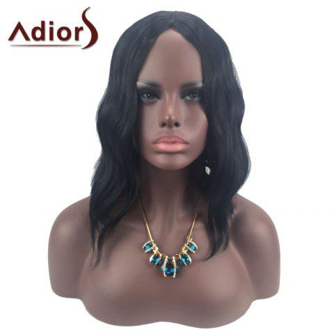 New Adiors Middle Part Slightly Curled Medium Synthetic Wig - BLACK  Mobile
