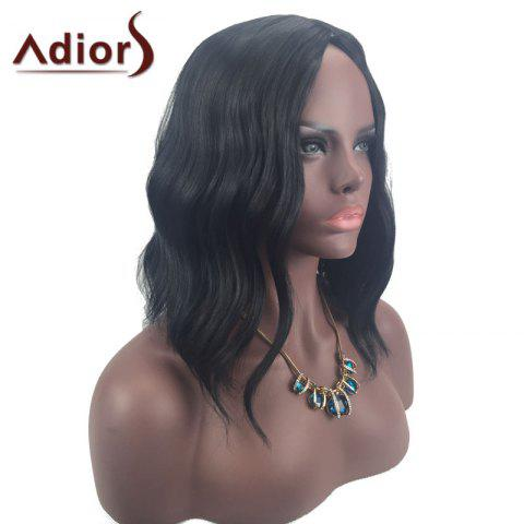 Outfits Adiors Middle Part Slightly Curled Medium Synthetic Wig - BLACK  Mobile