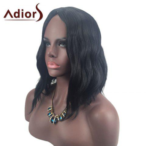 Fashion Adiors Middle Part Slightly Curled Medium Synthetic Wig - BLACK  Mobile