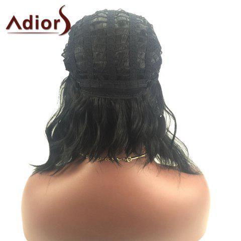 Chic Adiors Middle Part Slightly Curled Medium Synthetic Wig - BLACK  Mobile