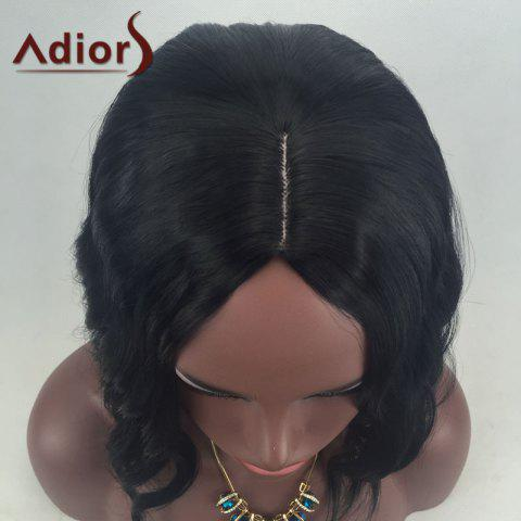 Outfit Adiors Middle Part Slightly Curled Medium Synthetic Wig - BLACK  Mobile