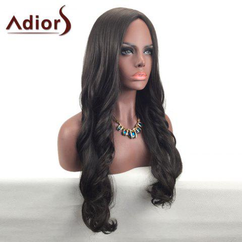 Fashion Adiors Center Part Long Wavy Synthetic Wig - BROWN  Mobile