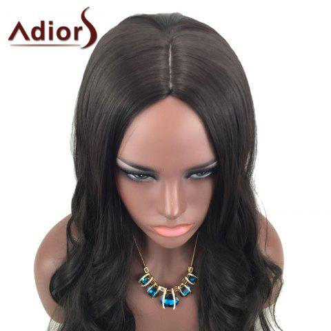 Chic Adiors Center Part Long Wavy Synthetic Wig - BROWN  Mobile