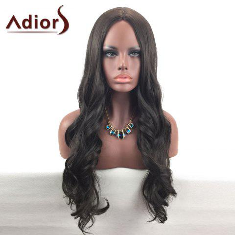 New Adiors Center Part Long Wavy Synthetic Wig - BROWN  Mobile