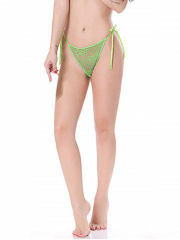 See-Through Lace String Panties - Green - One Size