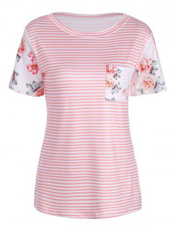 T-shirt à manches courtes Rose and Stripe Print