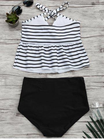 Best Stripe Halter Flounce Peplum Tankini Set - L BLACK Mobile