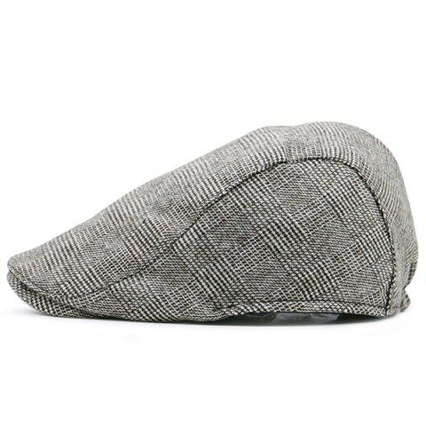 Best Dense Checked Vintage Flat Hat KHAKI