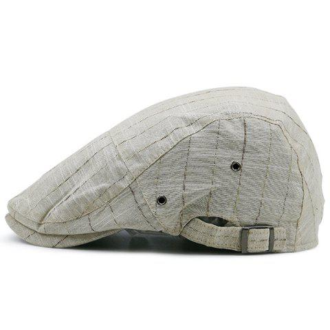 New Shimmer Stripe Vintage Newsboy Hat KHAKI