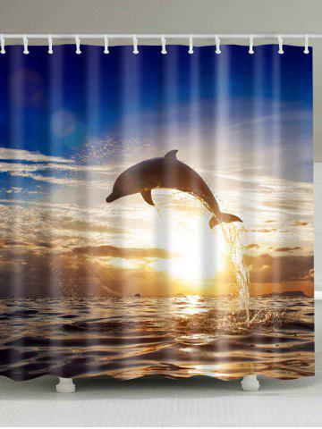 Sunset Dolphin Fabric Bathroom Shower Curtain - Colormix - W71 Inch * L79 Inch