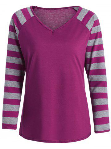 V Neck Raglan Sleeve Striped Shirt - Sangria - S