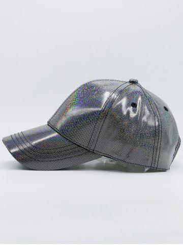 Outfit Reflective PU Shimmer Baseball Hat - SILVER  Mobile