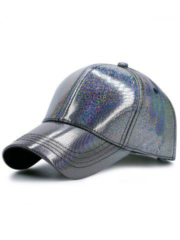 Trendy Reflective PU Shimmer Baseball Hat SILVER