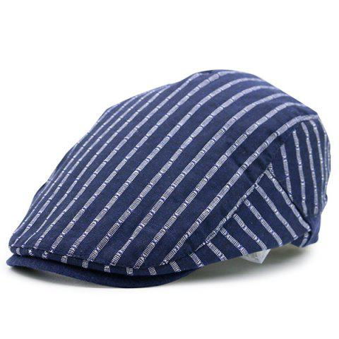Outfit Vintage Striped Embellished Flat Newsboy Hat CERULEAN