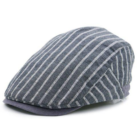 Chic Vintage Striped Embellished Flat Newsboy Hat GRAY