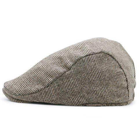 Discount Dense Checked Vintage Flat Hat COFFEE