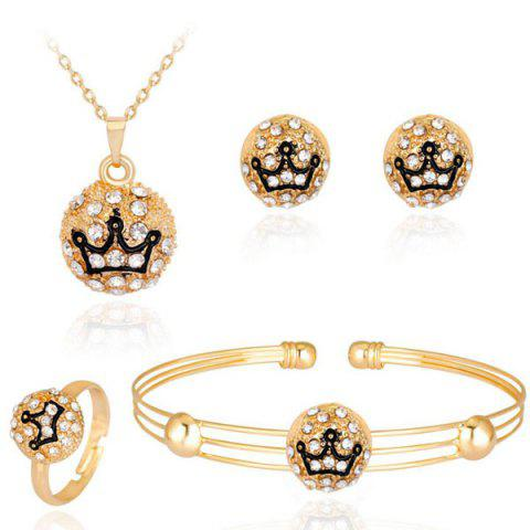 Engraved Crown Necklace Earrings Bracelet and Ring Set - Golden - One-size