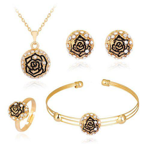 Engraved Rose Necklace Earrings Bracelet and Ring Set - Golden - One-size