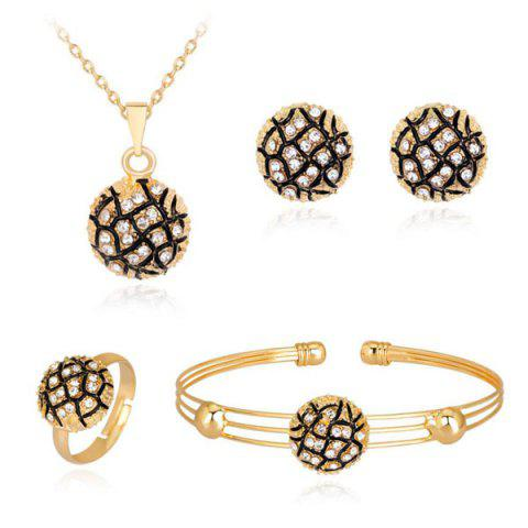 Round Necklace Earrings Bracelet and Ring Set - Golden - One-size
